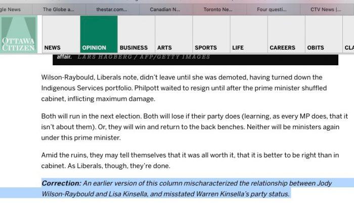 "Dear Ottawa Citizen"" – with an update : Warren Kinsella"